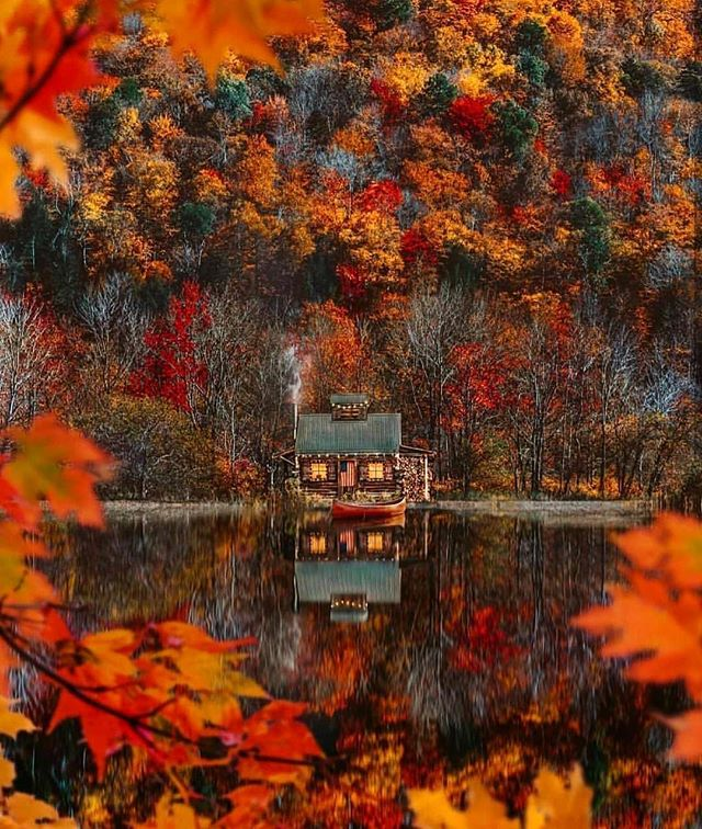 We are in love with this cosy looking cabin and the phenomenal autumn colours of Vermont. Tag somebody you'd like to go here with.... photo by @kjp  #a2dtravel #vermont #cabin #travel #autumncolors #autumn #beauty #stunning #cosy #travelphotography #adventure #explore #lifeisbeautiful