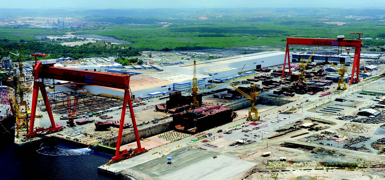 Aerial view of the Atlântico Sul Shipyard (PE)