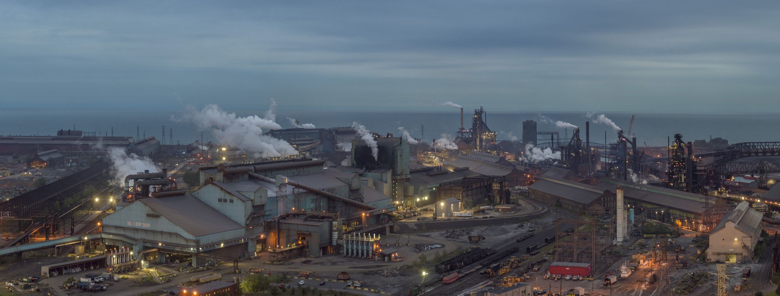 Peter Essick, Steel Mill, Lake Michigan, Gary, Indiana, Gary, Indiana, 2018 26 x 12 inches Archival Pigment Print