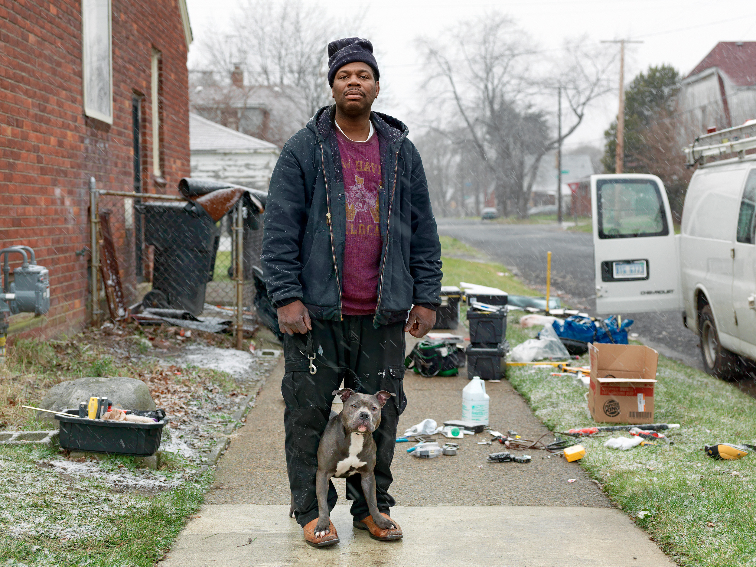 Calvin with His Pit Bull, Eastside, Detroit, Michigan, 2011