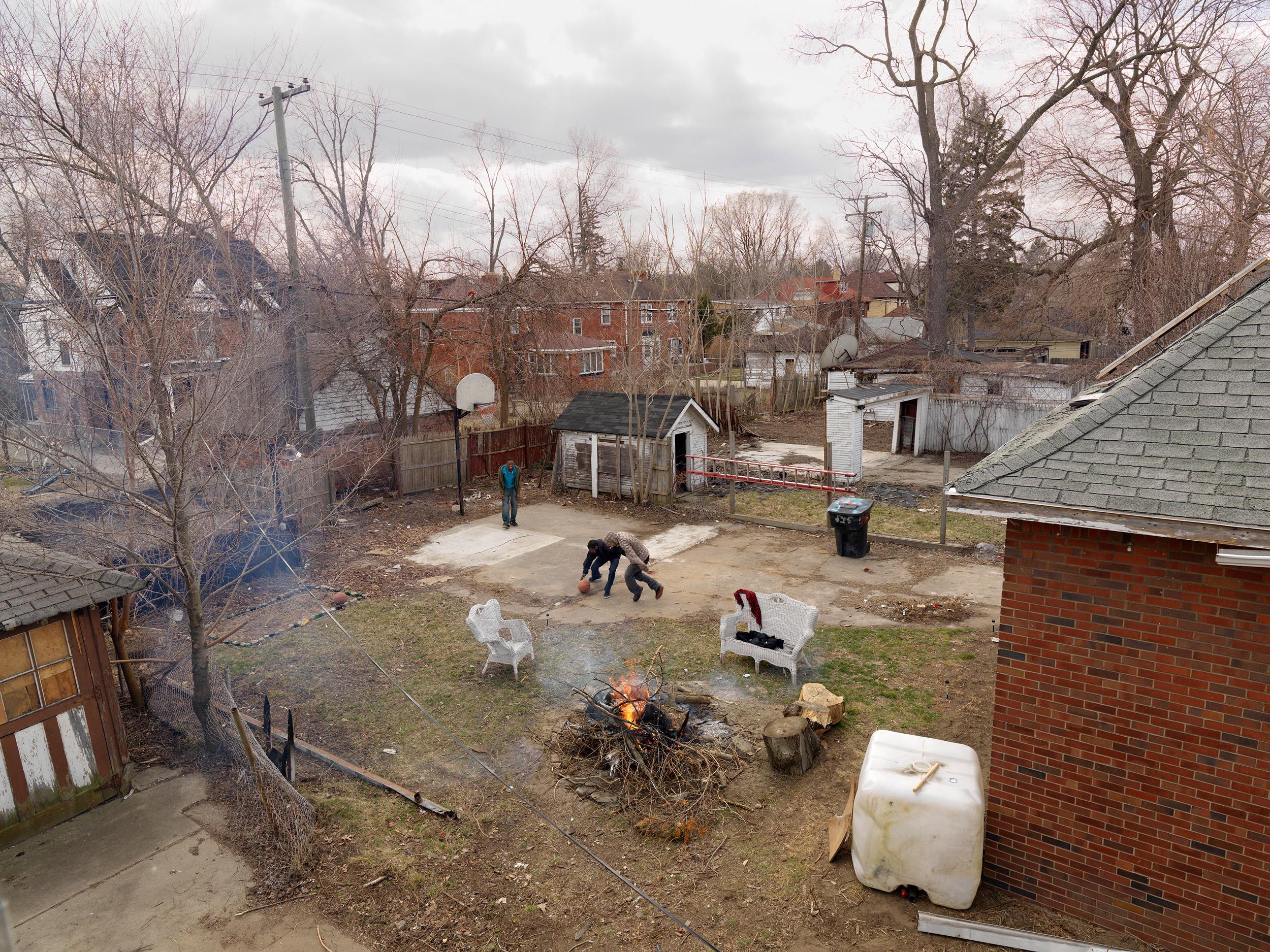 Backyard Basketball, Goldengate St., Detroit, Michigan, 2013