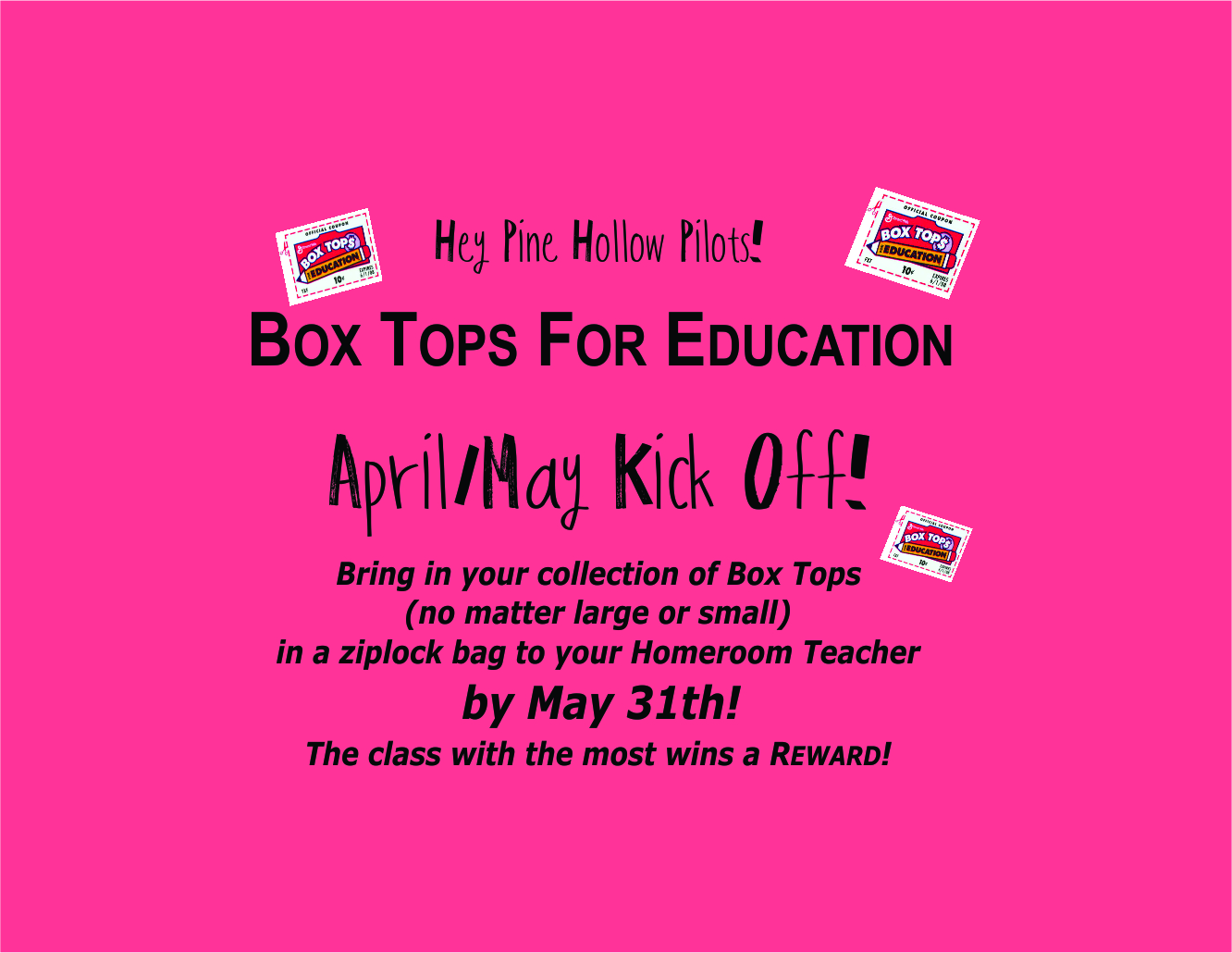 Keep sending in those Box Tops!