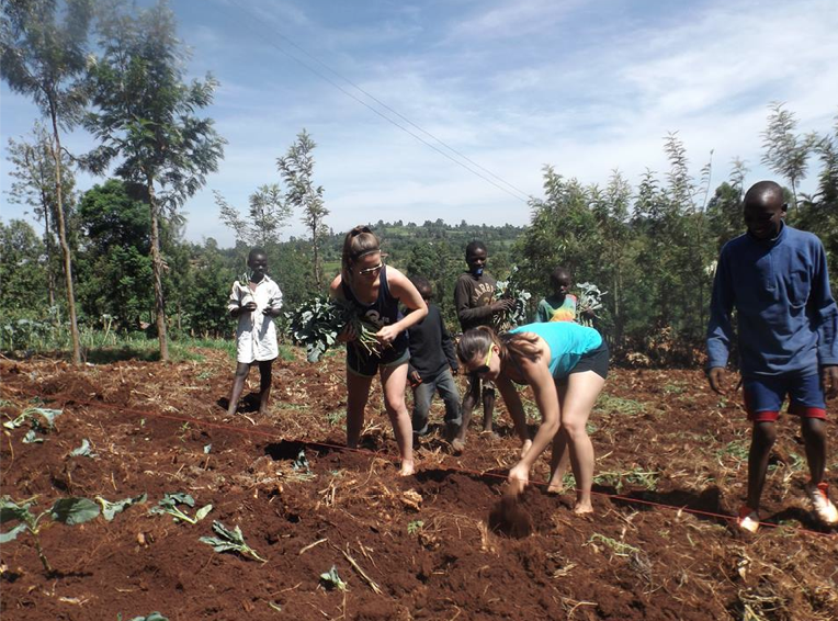 Rachel and Danielle getting their hands dirty planting kale.
