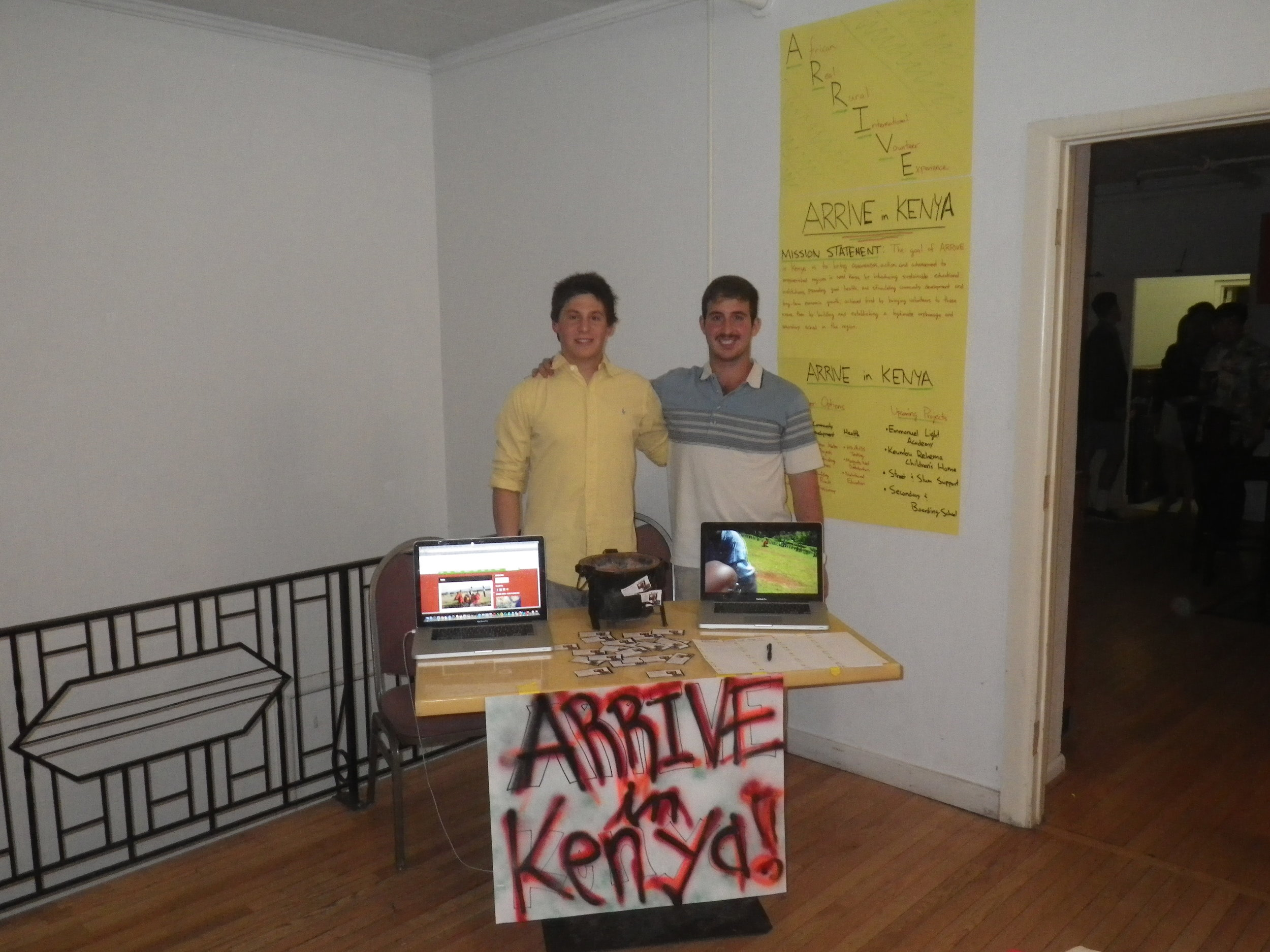 Brian Ash (left) and Davide Ippolito (right) at the ARRIVE in Kenya information booth.