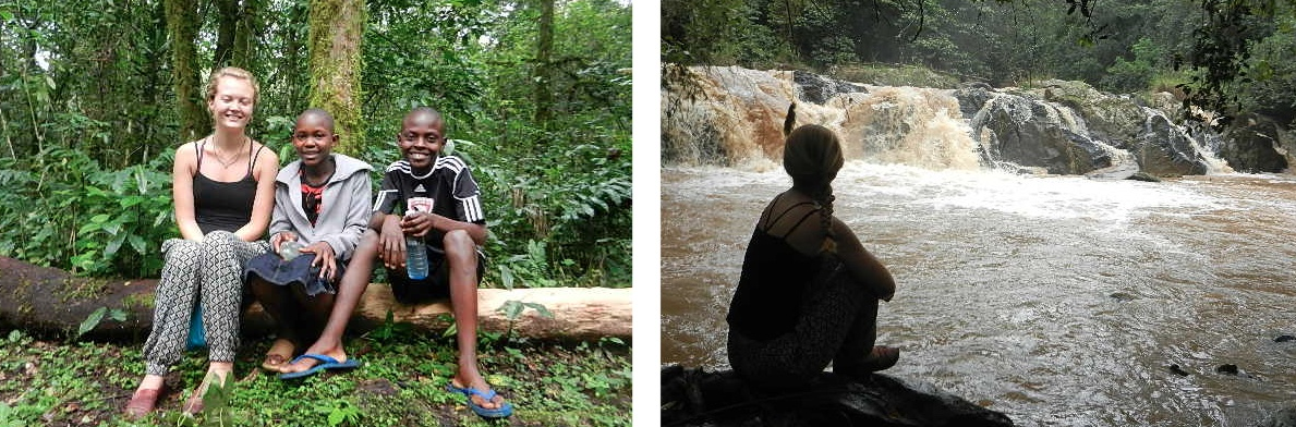 Left: Joanna, Claire, and Mikiel taking a break mid-hike. Right: Joanna relaxing at a remote waterfall in Kakamega National Forest.