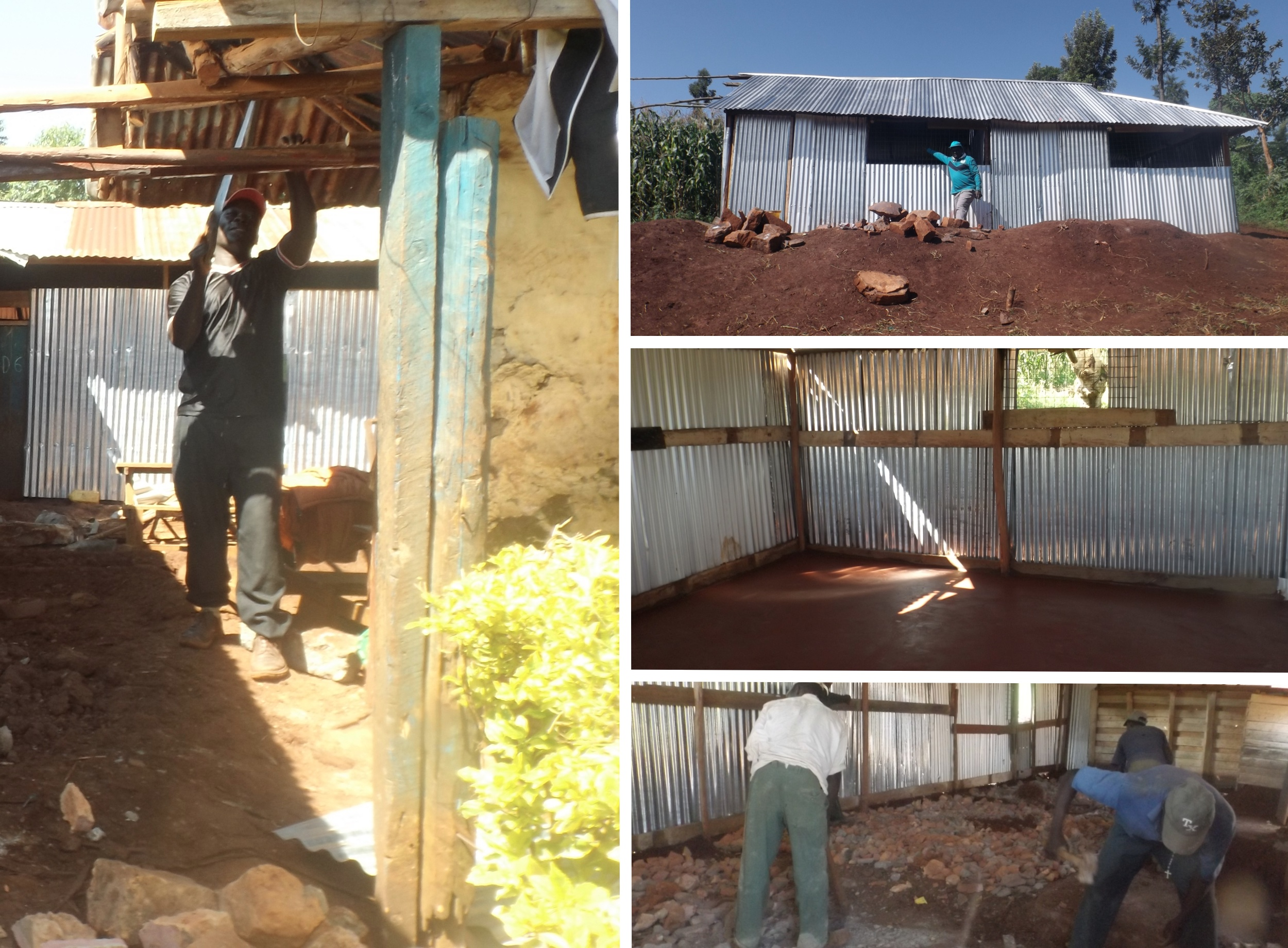 Left: Improving infrastructure. Top: Pastor Robert stands in front of a brand new classroom. Middle: Cement floors instead of dirt and mud! Bottom: Workers knock down walls, lay cement, and expand classroom sizes.