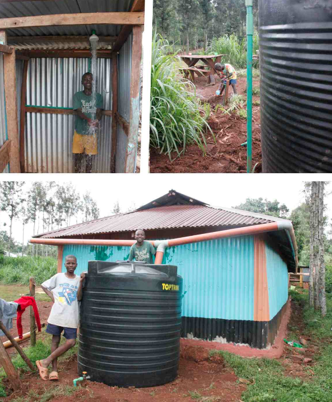 Left: Evans showing off the new boys' shower. Right: Amos filling up a cup of drinking water. Bottom: The gutters leading into the rainwater collection tank.
