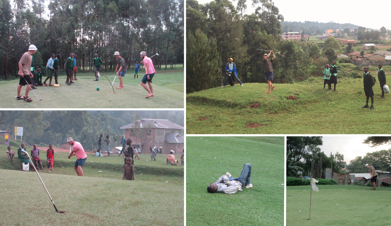 Starting with the top left photo going clockwise: greens turned into futbol matches with the kids; James teeing off with Kisii in the background and our caddy at his side; mechipping for birdie, ball mid air; drunk guy passed out in the middle of the fairway; Joren pitching in front of a local crowd.