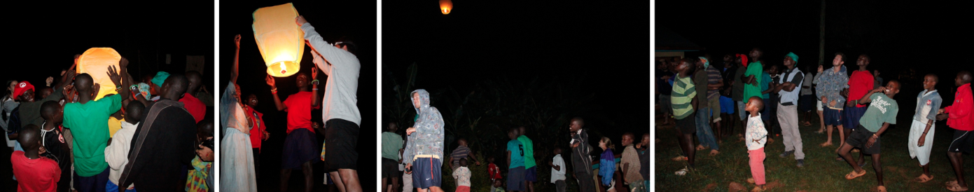From left to right: the kids holding the wishing light as it inflates, Federico ready to let the wishing light fly away, everyone watching the wishing light rise, everyone watching the wishing light peacefully dissapear into the night sky.