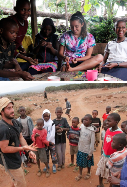Top: Natalia and the girls making bracelets. Bottom: Me talking to children of the Maasai tribe during a mini safari to Maasailand.