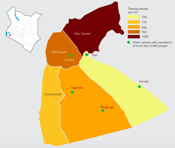 A map showing population density of Kisii County; the childrens home in Keumbu is located between Kisii and Keroka.