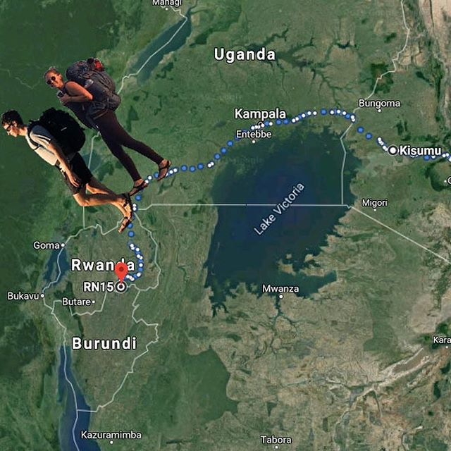 We've successfully *walked across Uganda* and have made it to Rwanda! Crossing Uganda over the past 17 days we've walked 334.1 miles and climbed 25,252 vertical feet (in total on #thewalkafrica we've crossed Kenya and Uganda - walking 955.3 miles and climbing 61,789 vertical ft. in elevation gain over 50 days). What we'll miss - learning Luganda, street food, and rollexes. What we look forward to - hills, more green, and burritos at @mezefreshrw !