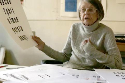 Elaine Lustig Cohen working on Lustig Elements font