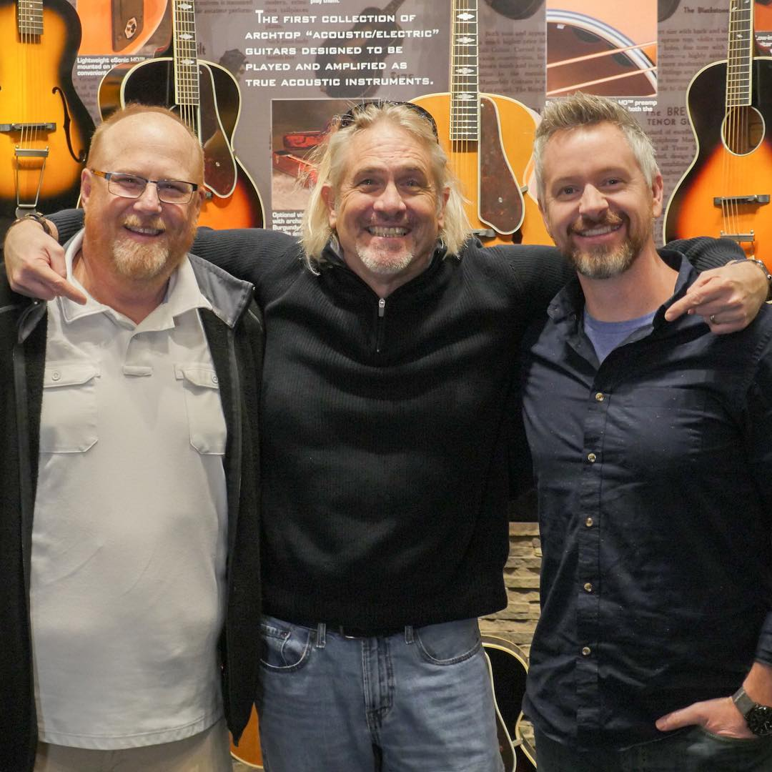 Scott Aisenbrey of Epiphone with the guys.