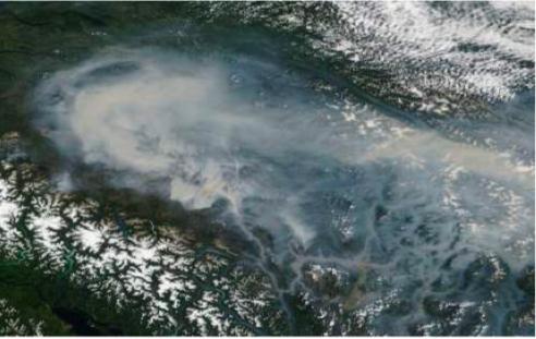 Satellite image of wildfire smoke in the Interior region of British Columbia, taken July 18, 2017. Source: NASA Worldview