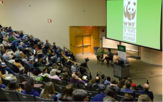 Megan Leslie, President and CEO of the WWF responding to discussion questions by Art Fredeen following her keynote address at the 2018 CIRC Forum.