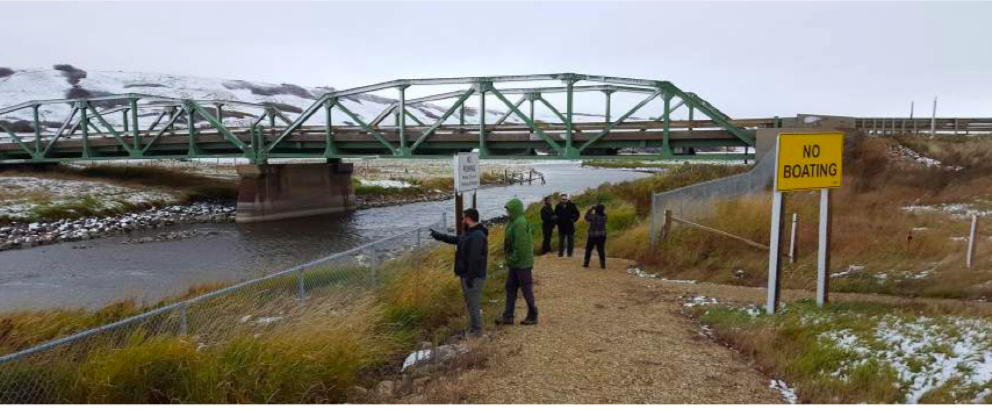 ECHO team members meeting the Battle River on a snowy October morning: from left, Jo- seph Gothreau, Barry Booth, Dar Amsalu, Lars Hallstrom, photog- rapher.