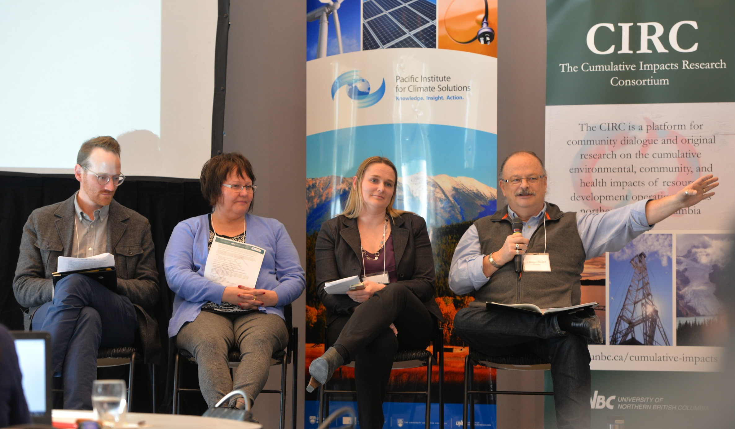 Panel Session: Assessment of Cumulative Impacts on Health and Wellbeing at the 2018 CIRC Forum. From left: Chris Buse, Sandra Harris, Barb Oke, Henry Harder