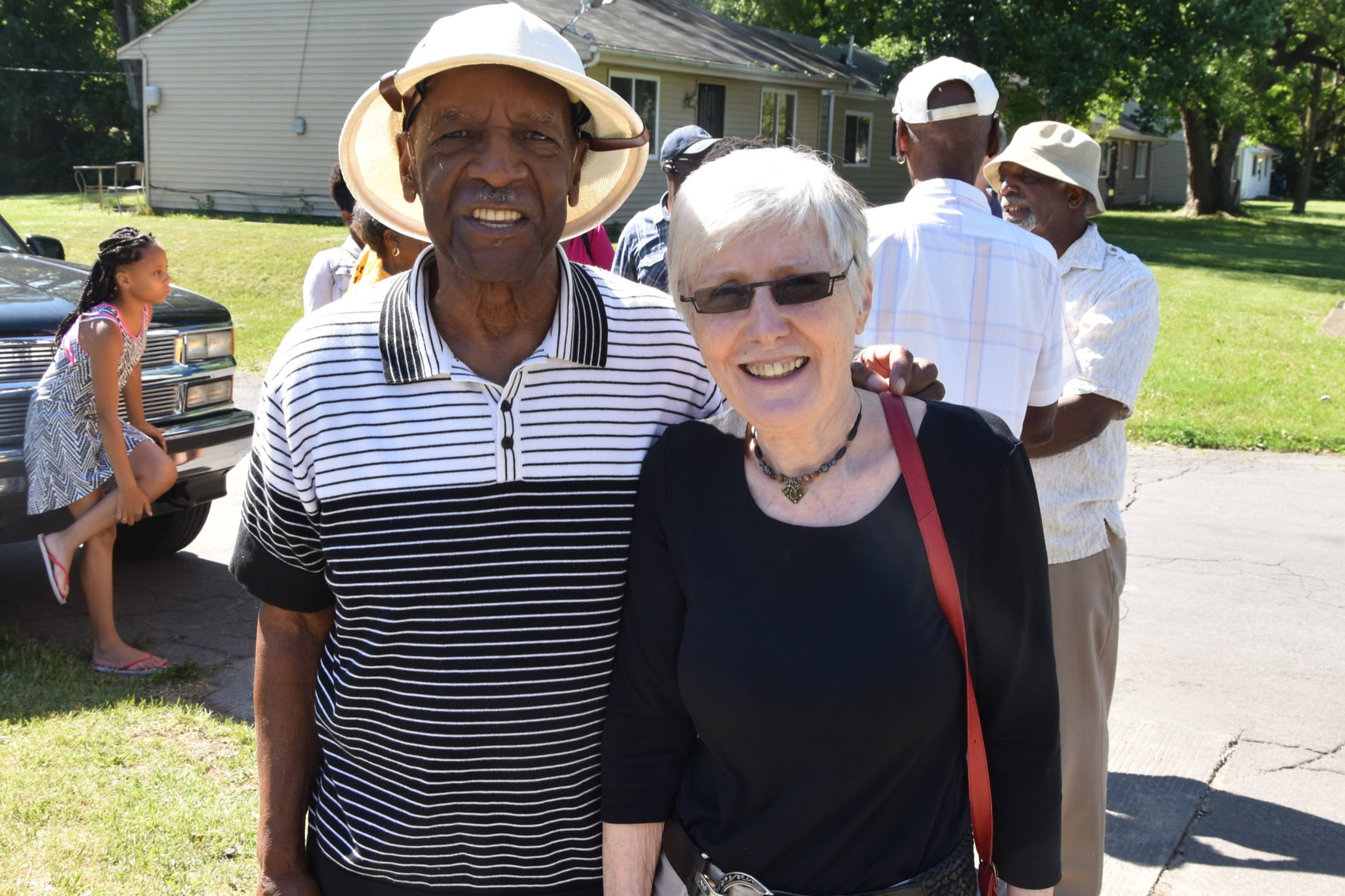 Leroy Cobb, original member of Better Homes, and Gabrielle Robinson at dedication of Better Homes State Historic Marker 2016. Speaker: Mayor Pete Buttigieg