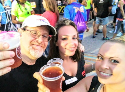 A cold one with the coach to celebrate a job well done and their first 5K.