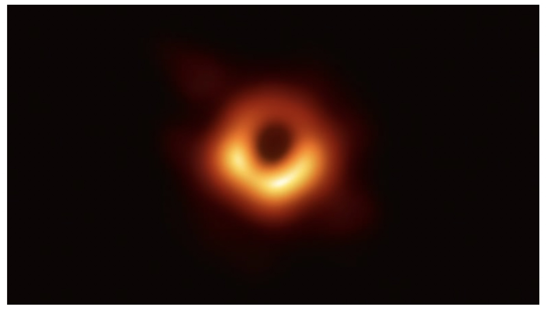 < The first image ever taken of the event horizon of a supermassive black hole, captured by the Event Horizon Telescope in 2017. (Event Horizon Telescope) >