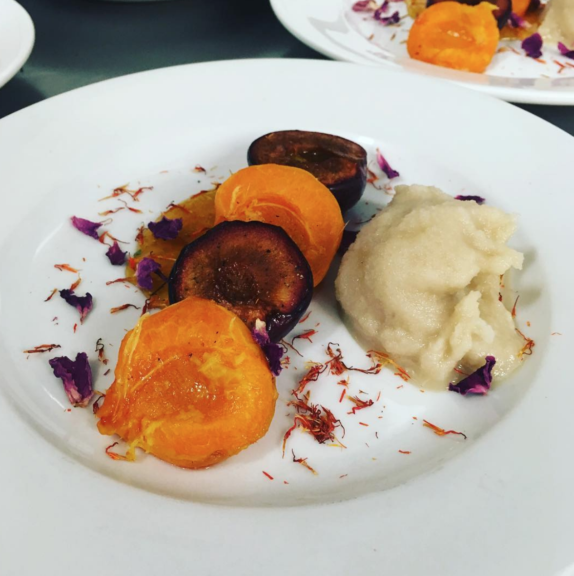 PLUMS & APRICOTS ROASTED W/CARDAMOM & GINGER//SHERRY ICE CREAM//SAFFLOWER AND ROSE