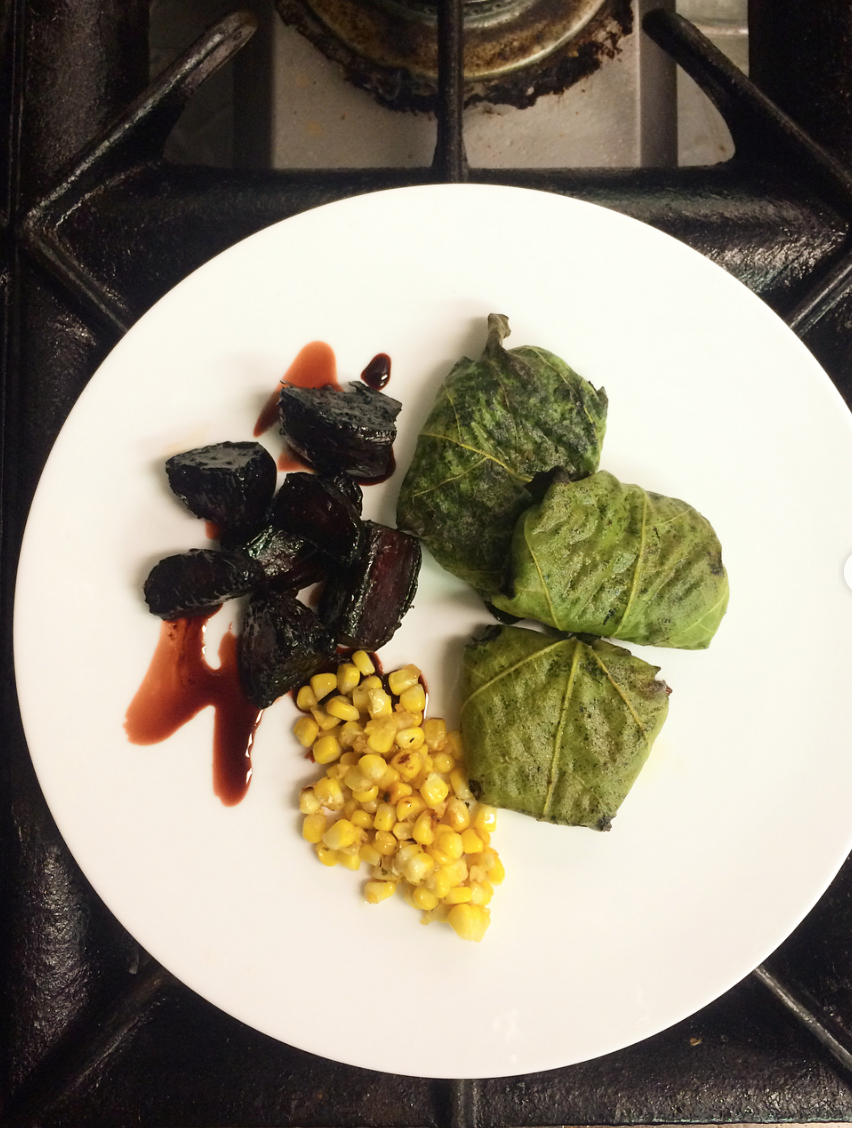 CANDIED POMEGRANATE BEETS//SPICY STREETCORN//ROAST FIG LEAF PARCELS STUFFED WITH RED RICE, PINE NUTS, MARINATED SHROOMS