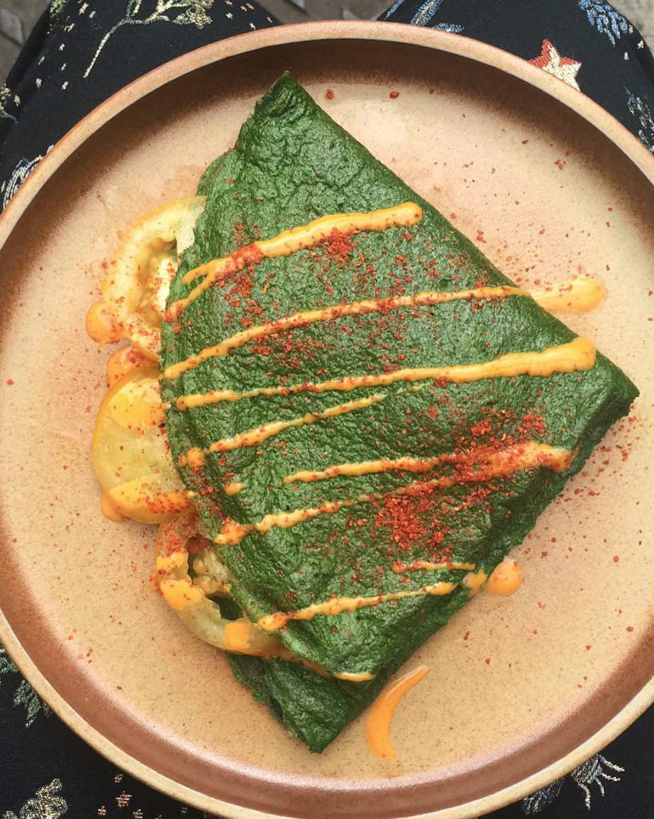 SPINACH PANCAKE// BEST YELLOW TOMATOES//OLIVE OIL, PEPPER FLAKES