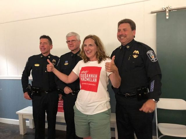 "This was a great moment when the Brentwood Police came to our ""watch party"" to congratulate me and welcome me to the Brentwood City Commission."