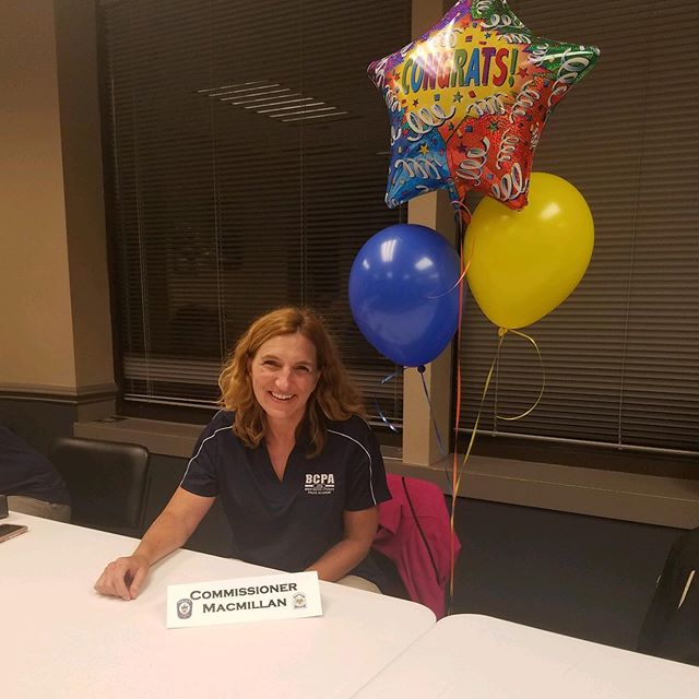 At Citizens Police Academy tonight I had a new name tag - and congrats balloons- they are so awesome there #brentwoodpolice