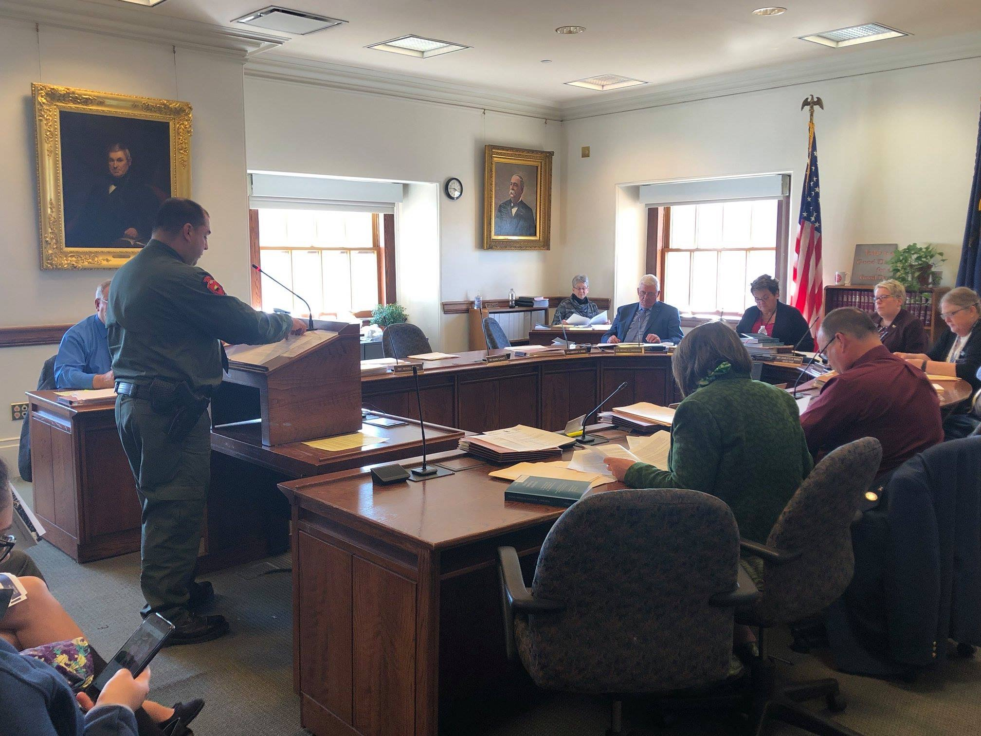 MITSC Member Matt Dana testifies at Maine Legislature on bill to create a Wabanaki seat on the Maine Criminal Justice Academy, April 3, 2019