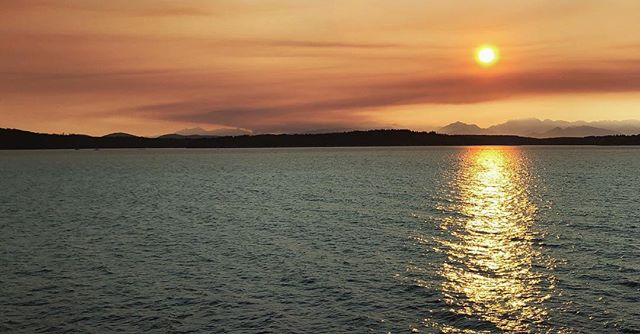 A distant wild fire in the Olympic National Forest as seen from the Seattle-Bainbridge ferry at sunset.