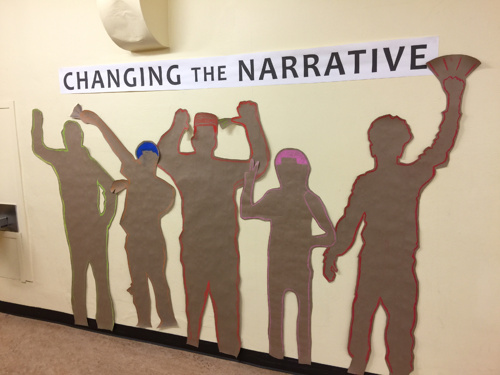 CHANGING THE NARRATIVE | 2017 - John Muir Elementary project for Langston Hughes Performing Arts Institute LobbyPartner: CD Forum for Arts and IdeasTeaching Artists: Greg Thornton and DeShawn Jackson.