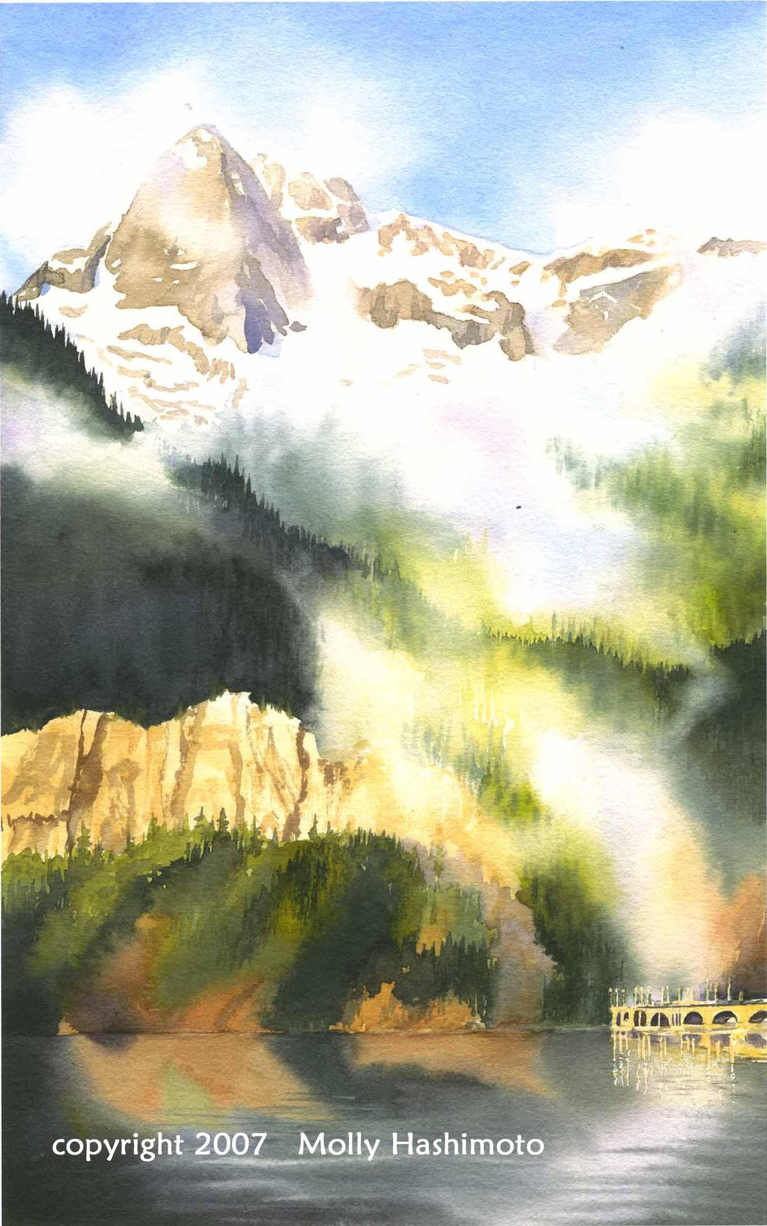 Peak, Mist, Dam - Giclee Print $75