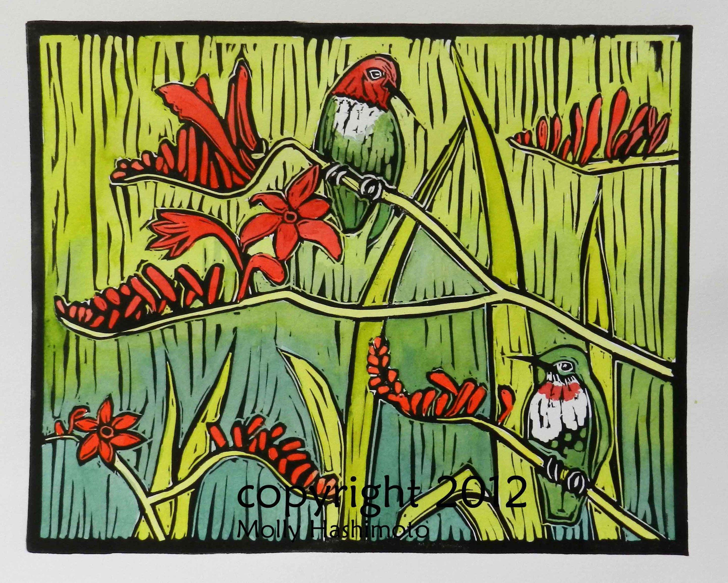 Hummingbirds & Crocosmia