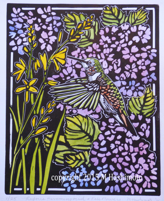Rufous Hummingbird & Flowers $115