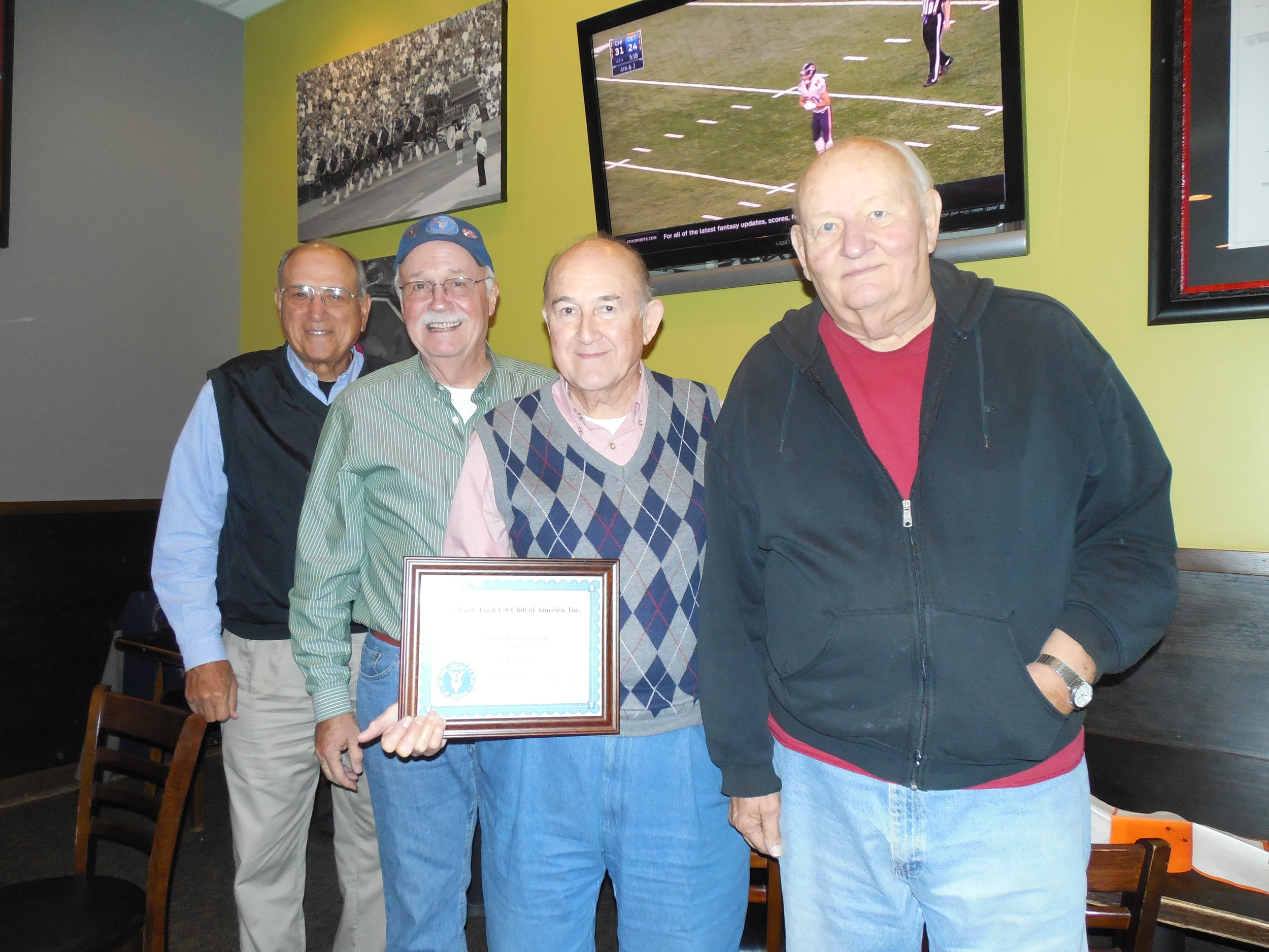 30th Anniversary of Regional Club #124 (L to R) Joe Viviano, Don Rogers, Howard Crawford & Jay Canada (taken Nov. 2015)