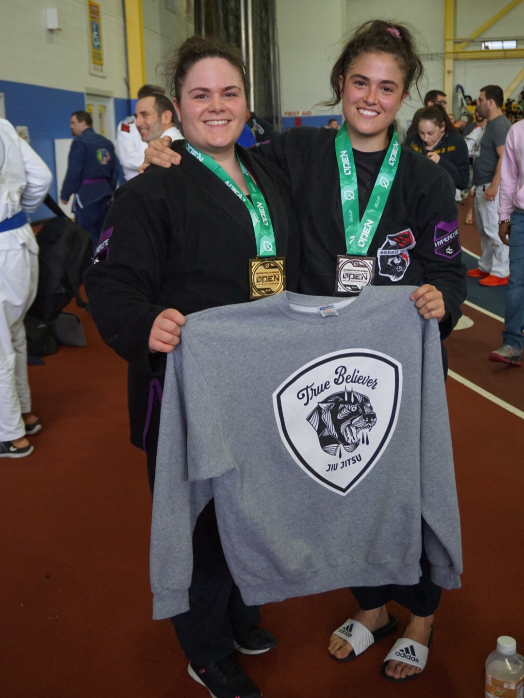 Sewar Abunuwar (left) earned first place in her division, and Allie Bolea (right) earned second place, following hard-fought rounds.