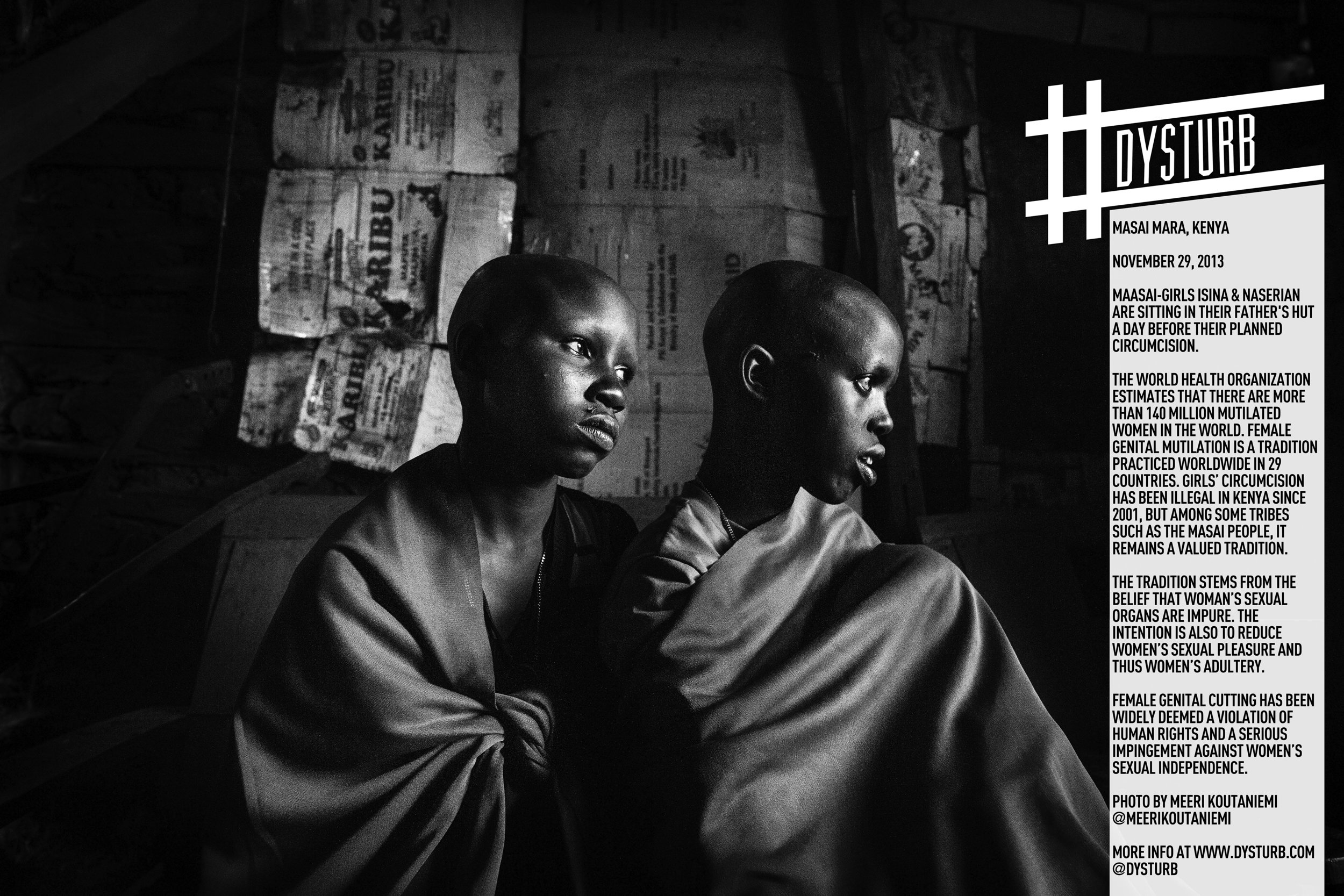 Maasai-girls Isina & Naserian are sitting in their father's hut a day before their planned circumcision. Photo by Meeri Koutaniemi