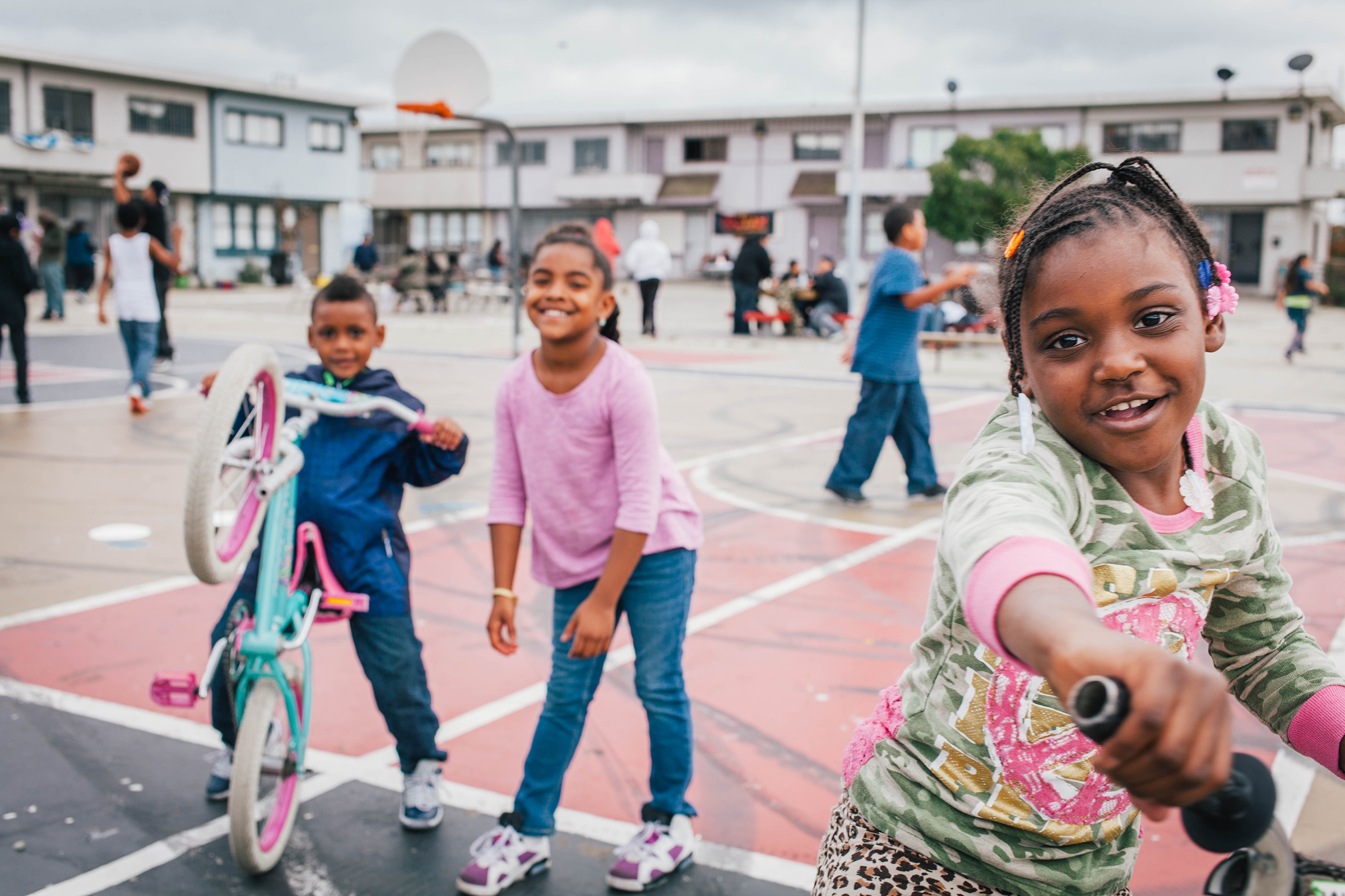 Kids play at a block party in Bayview-Hunter's Point, San Francisco. (Felix Uribe)