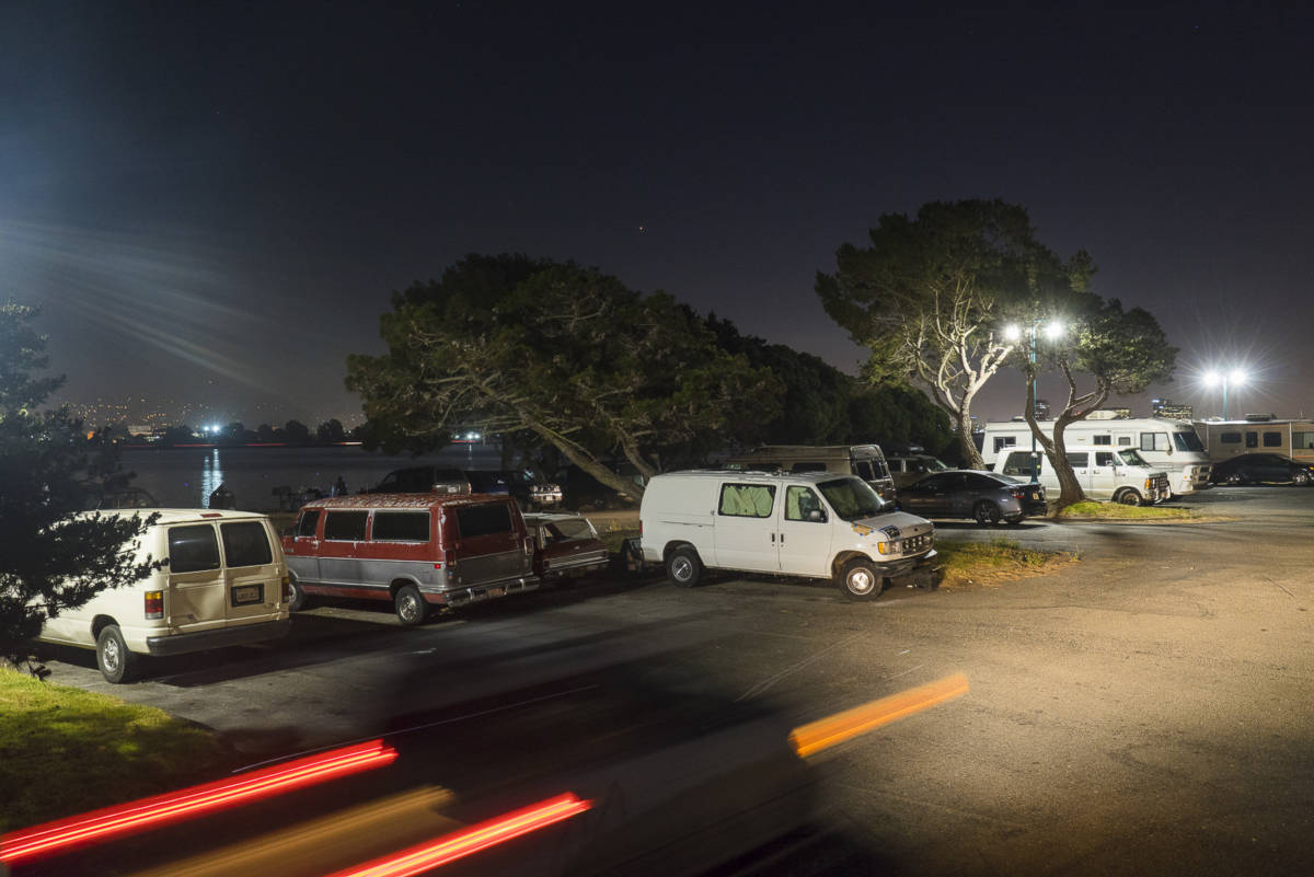 For a rear parking lot, the traffic is ongoing all night. It never stops. The Hs Lordships parking lot is a popular spot to come race and make car donuts. (Yesica Prado)