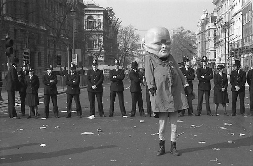 Cope's Sqwubbsy character protesting the Poll Tax in 1990.