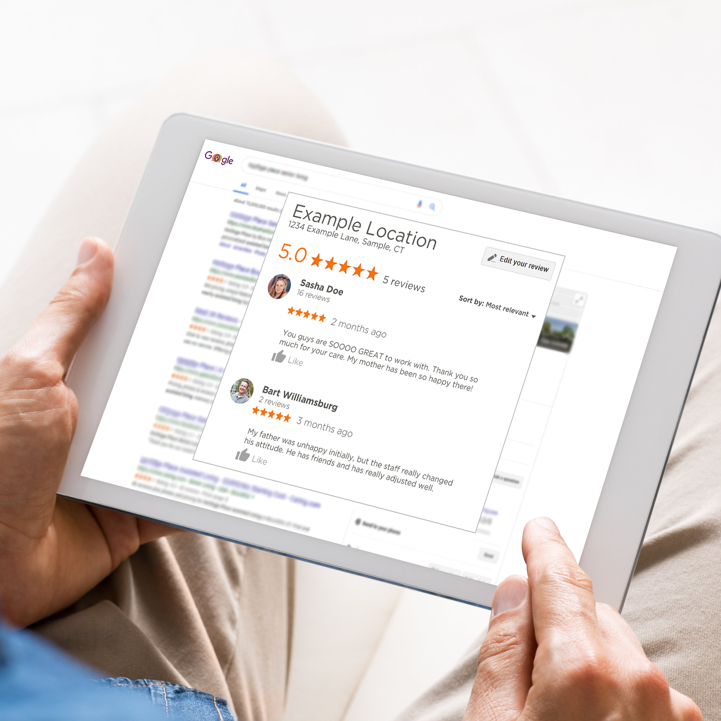iPad Man Pointing to the Google Review