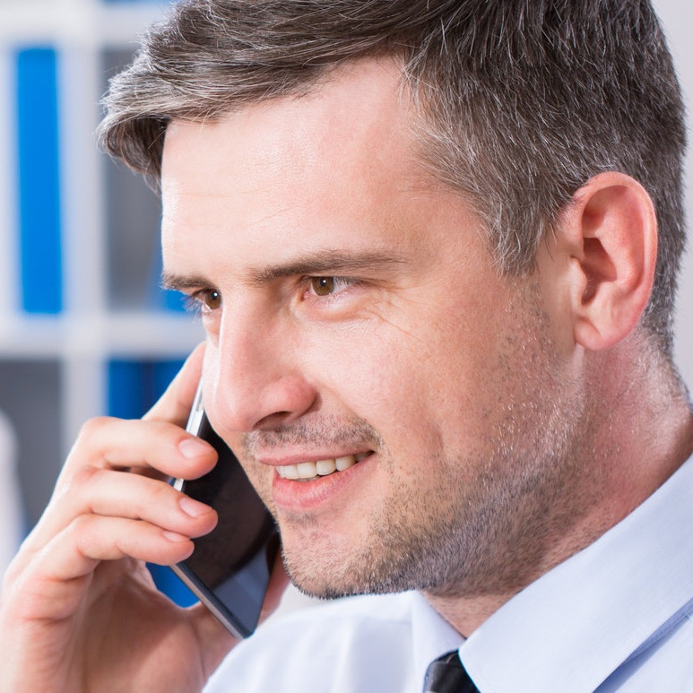 Man answering the phone