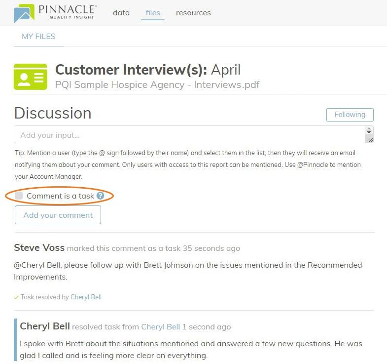 MyPinnacle Discussion Tasks