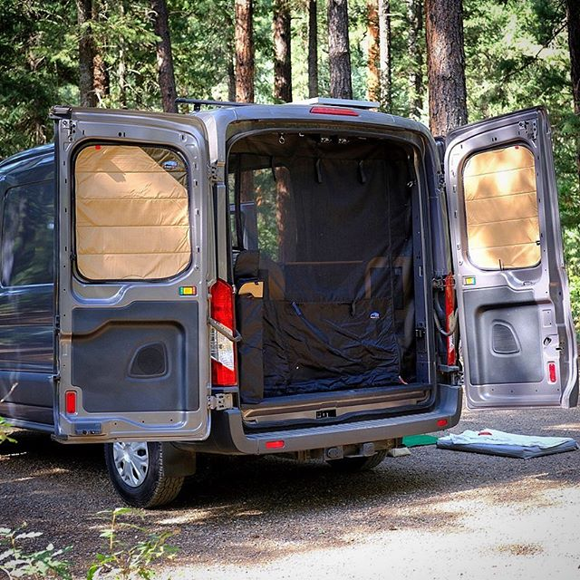 Ready for a little privacy when you need it? We've got you covered. Our Ford Transit window coverings have been tweaked dozens of times for a dialed in fit. #nightfalloverland #fordtransit #magneticinsulatedwindowcovers #overlanding #vanlife #vancamper #transit #madeincolorado