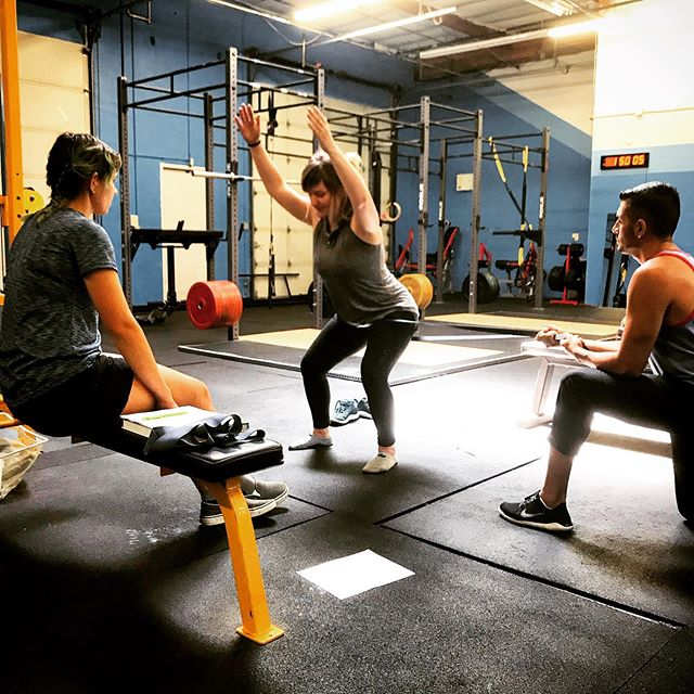 Today the students learned how to perform the overhead squat assessment. This assessment is a very useful tool for trainers to use to establish any muscular imbalances their client may have. This allows them to put together a program for their client that prevents injury and improves overall movement!
