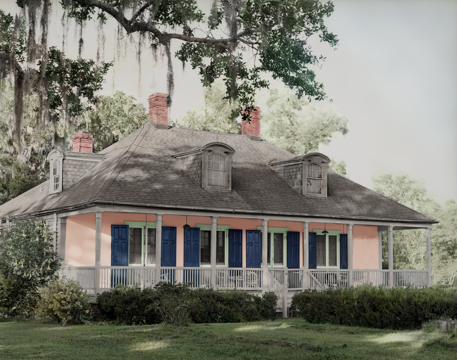 Three-room-across Creole-style house design of 1777.