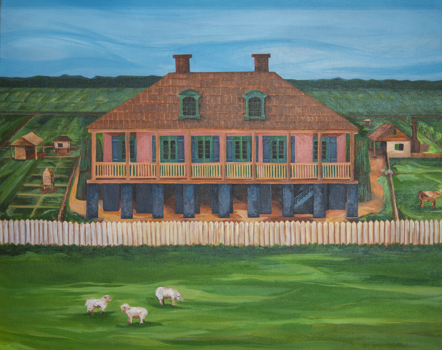 Painting of Christophe Heidel's 1790 home by artist Josephine Romo.