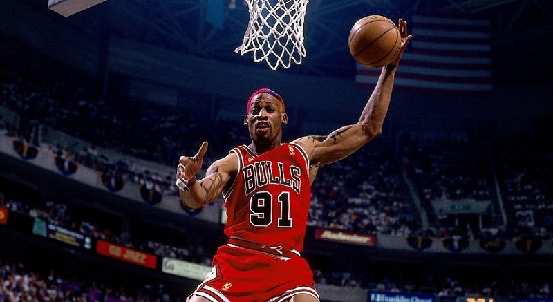 Photo Credit: Nathaniel S. Butler, NBAE/Getty Images  from:  https://www.gettyimages.ie/detail/news-photo/dennis-rodman-of-the-chicago-bulls-grabs-a-rebound-against-news-photo/74181018